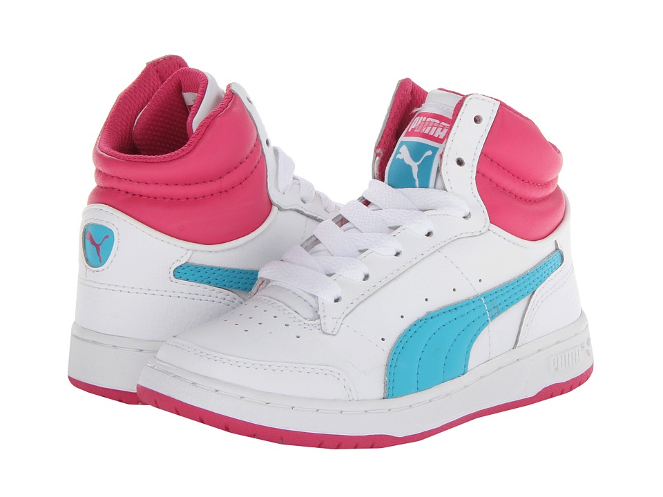 Puma Kids - Full Court Hi Jr (Little Kid/Big Kid) (White/Bluebird/Beetroot Purple) Girl's Shoes