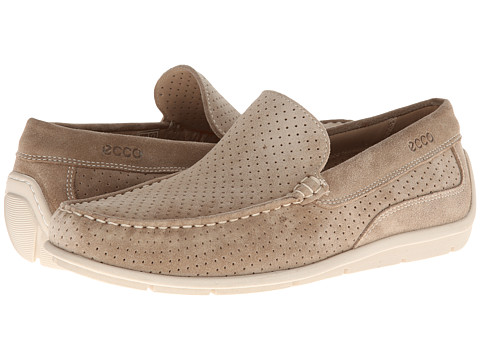 ECCO - Classic Moc Perf (Beige Suede B14) Men's Slip on Shoes