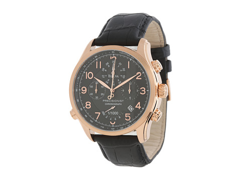 Bulova Mens Precisionist - 97B122 (Rose Gold/Black) Chronograph Watches