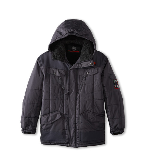 Weatherproof Kids - Box Quilted Bubble Jacket with Detachable Sherpa Trim Hood (Big Kids) (Charcoal) Boy