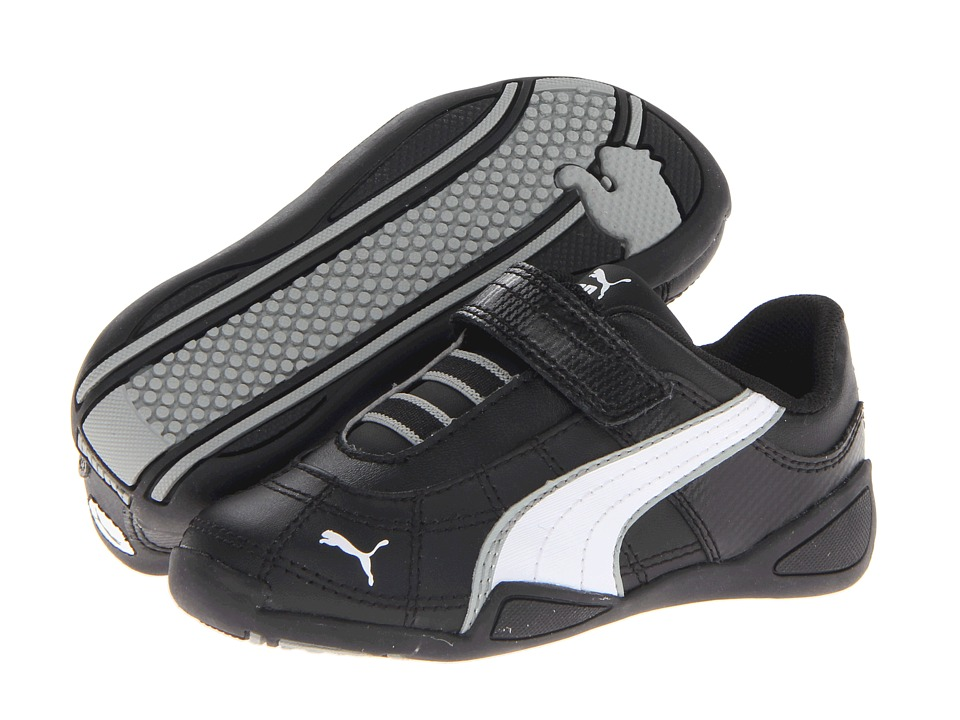 Puma Kids - Tune Cat B 2 V (Toddler/Little Kid/Big Kid) (Black/White/Limestone Gray) Boy's Shoes