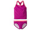 Nike Kids Core Solid Racer Back Tankini And Brief (Big Kids) (Magenta) Girl's Swimwear Sets