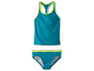 Nike Kids Core Solid Racer Back Tankini And Brief (Big Kids) (Turbo Green) Girl's Swimwear Sets