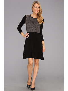 SALE! $42.99 - Save $55 on Nine West Leopard Front Dress w Flared Sleeves (Black Combo) Apparel - 56.13% OFF $98.00