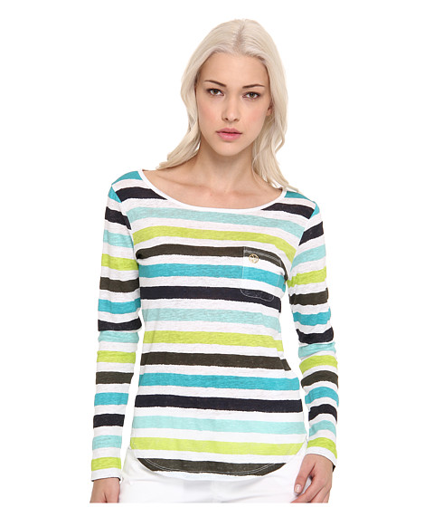 Armani Jeans - Long Sleeve Gauze Striped Knit Top (Green/Blue Stripe) Women's Blouse