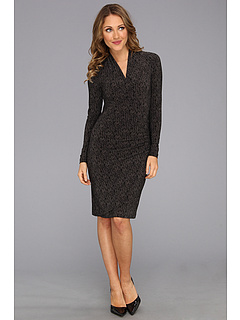 SALE! $49.99 - Save $48 on KAMALIKULTURE Long Sleeve Side Draped Dress (Black Grey Herringbone) Apparel - 48.99% OFF $98.00