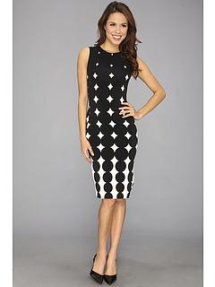 SALE! $57.95 - Save $34 on KAMALIKULTURE Shift Dress To Knee w Slit (Ombre Dots Black Off White) Apparel - 37.01% OFF $92.00