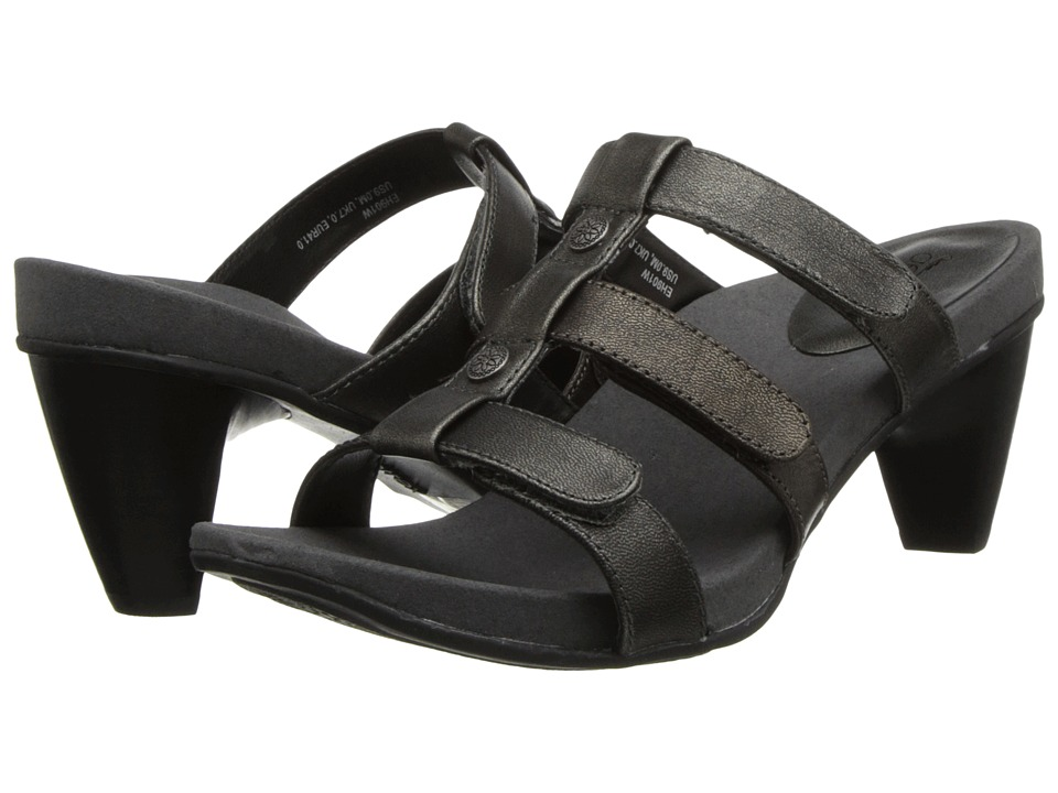 Aetrex - Kayla Adjustable 3 Strap Slide (Pewter) Women's Shoes
