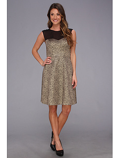 SALE! $46.99 - Save $111 on Donna Morgan Extended Sleeve Fit N` Flary Party Dress (Gold Black) Apparel - 70.26% OFF $158.00