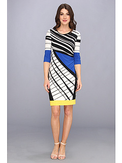 SALE! $59.99 - Save $70 on Donna Morgan Fitted Sheath Dress w Side Ruching (Blue Yellow Multi) Apparel - 53.85% OFF $130.00
