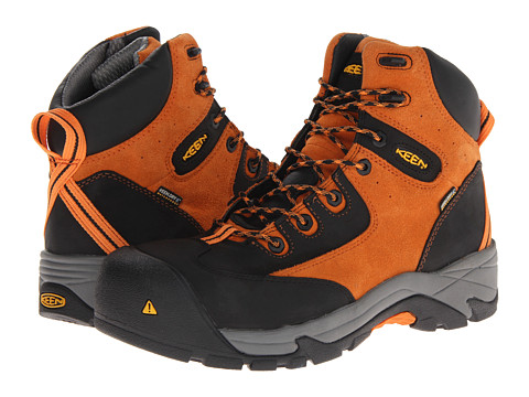 Keen Utility - Rainier Mid WP (Persimmon Orange/Black) Men's Boots