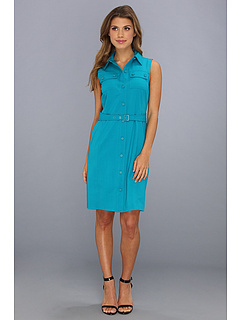 SALE! $59.99 - Save $74 on Calvin Klein Sleeveless Belted Shirt Dress (Lagoon) Apparel - 55.23% OFF $134.00