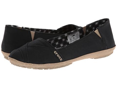 Crocs - Angeline Flat (Black/Khaki) Women's Flat Shoes