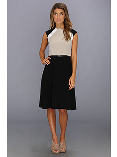 SALE! $80.78 - Save $53 on Calvin Klein Colorblock Belted Fit and Flare Dress (Black Khaki White) Apparel - 39.72% OFF $134.00