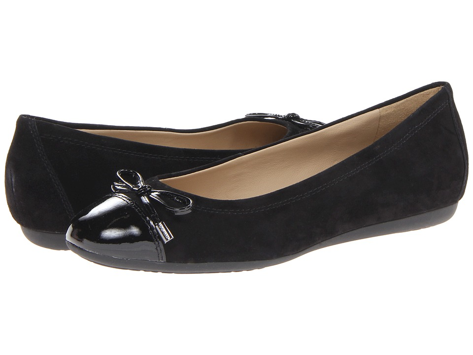 Geox - D Lola 15 (Black Suede) Women's Dress Flat Shoes