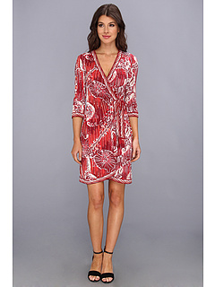 SALE! $95.7 - Save $82 on BCBGMAXAZRIA Adele Printed Wrap Dress WDH6W057 (Rio Red Combo) Apparel - 46.24% OFF $178.00