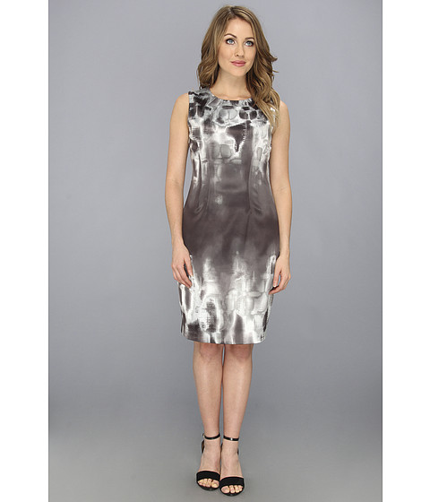 Elie Tahari - Emory Prominence 2 Charmeuse Dress (Geometric Grey) Women