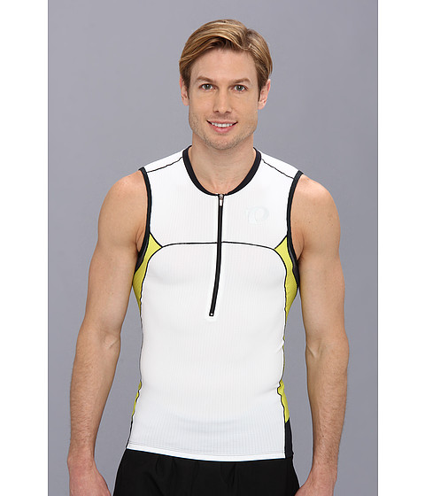 Pearl Izumi - ELITE In-R-Cool Tri S/L Jersey (White/Blazing Yellow) Men's Sleeveless
