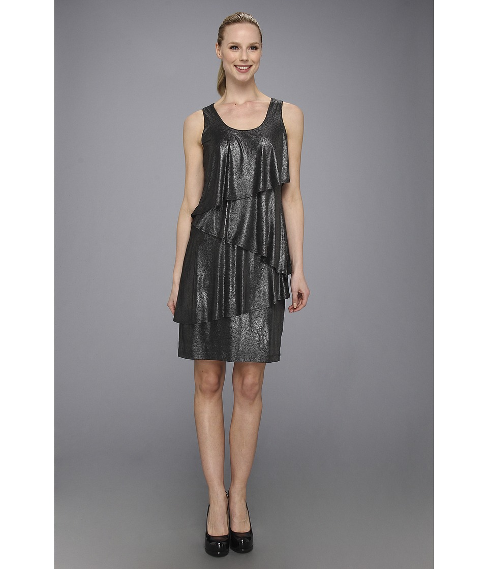Karen Kane Asymmetrical Tier Dress (Silver) Women
