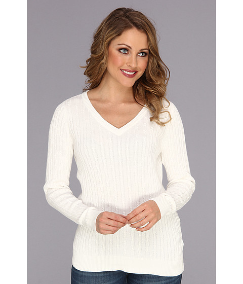 Caribbean Joe - Long Sleeve Cable V-Neck (Off White) Women's Sweater