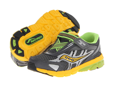 Saucony Kids - Baby Ride 6 (Toddler/Little Kid) (Grey/Yellow/Slime) Boys Shoes