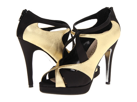 E! Live from the Red Carpet - Geraldine (Black/Oro Sateen) Women's Dress Sandals