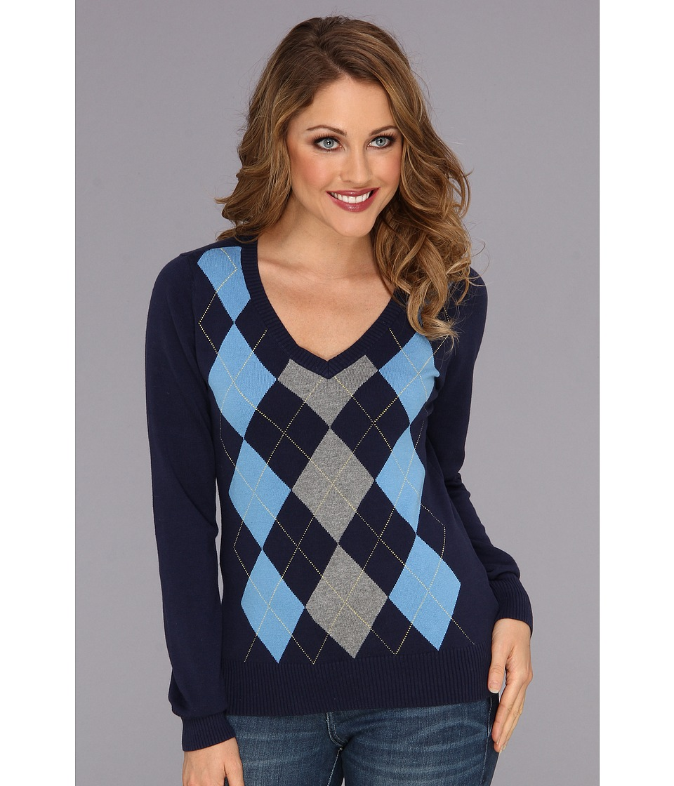 Caribbean Joe - Long Sleeve Argyle V-Neck (Peacoat) Women's Sweater