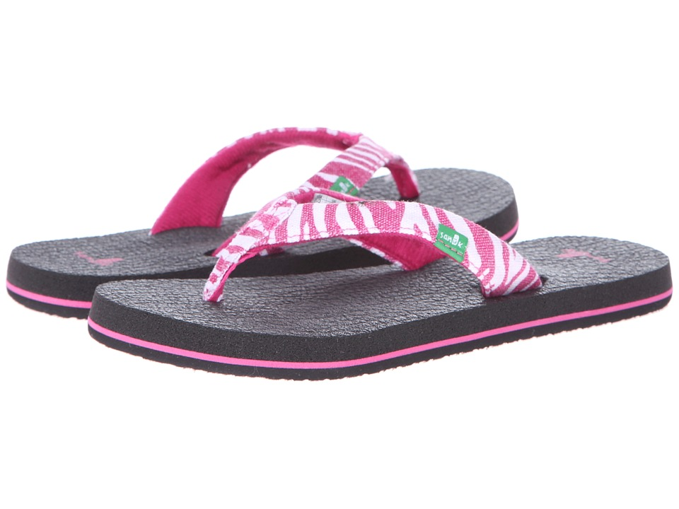 Sanuk Kids - Yoga Wildlife (Little Kid/Big Kid) (Fuchsia Zebra) Girls Shoes