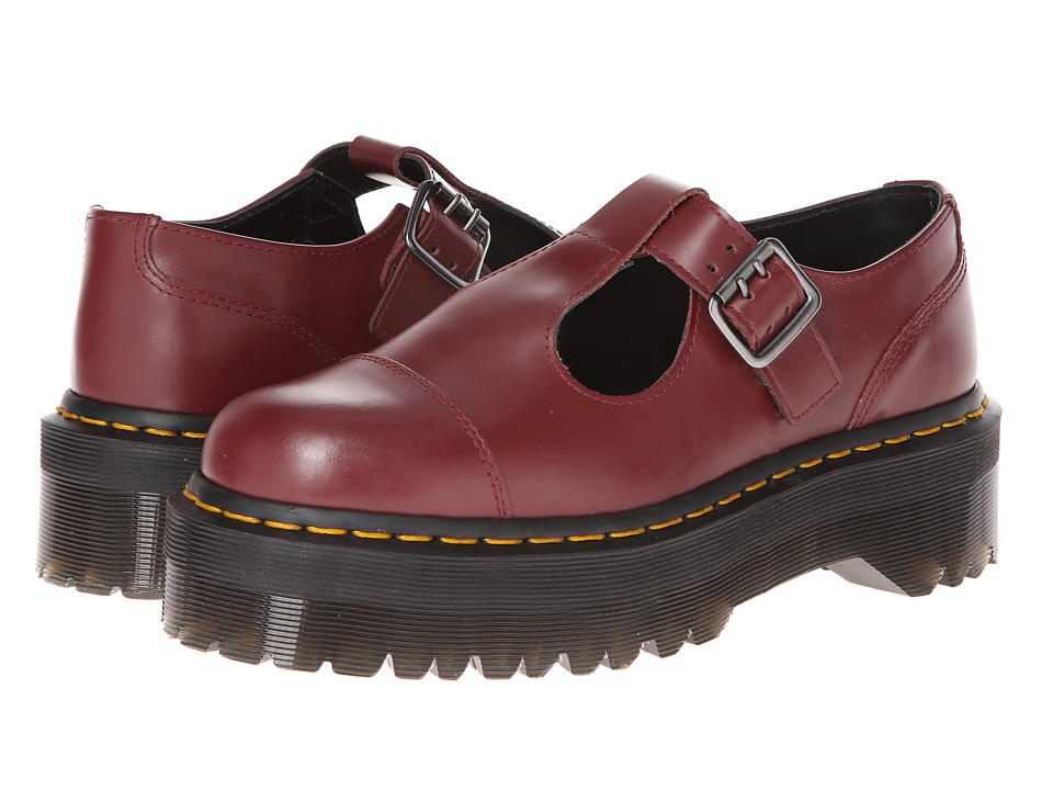Dr. Martens - Bethan T-Bar (Cherry Red Polished Smooth) Women's Shoes