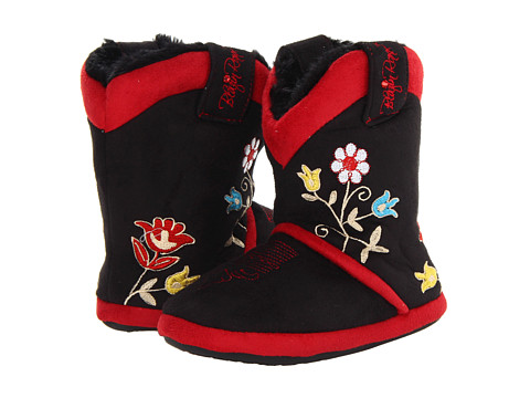 M&F Western - Floral Embroidered Cowboy Bootie Slipper (Toddler/Little Kid/Big Kid) (Black) Women's Slippers