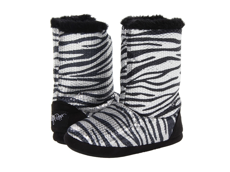 M&F Western - Sequin Animal Print Bootie Slippers (Toddler/Little Kid/Big Kid) (Silver Zebra) Women