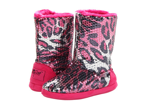M&F Western - Sequin Animal Print Bootie Slippers (Toddler/Little Kid/Big Kid) (Hot Pink Leopard) Women's Slippers