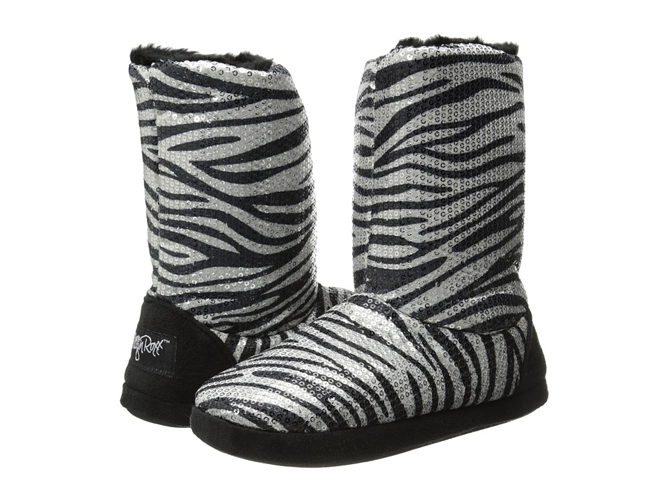 M&F Western - Sequin Animal Print Bootie Slippers (Silver Zebra) Women's Slippers
