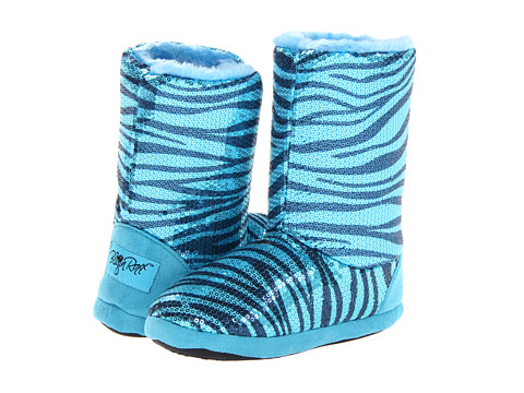 M&F Western - Sequin Animal Print Bootie Slippers (Turquoise Zebra) Women's Slippers