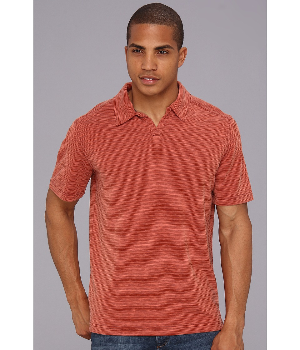 Royal Robbins - Desert Knit Stripe S/S Cricket (Dark Brick) Men's Short Sleeve Pullover