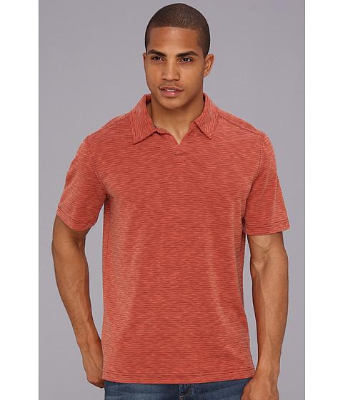 Royal Robbins - Desert Knit Stripe S/S Cricket (Dark Brick) Men's Short Sleeve Pullover