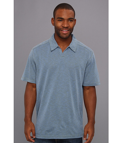 Royal Robbins - Desert Knit Stripe S/S Cricket (Deep Marine) Men's Short Sleeve Pullover