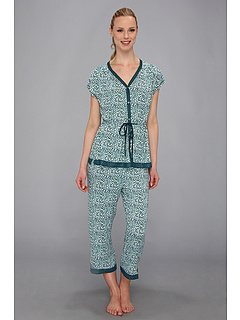SALE! $24.99 - Save $37 on Ellen Tracy Anyway Anywhere S S Cropped Pajama Set (Dark Blue Print) Apparel - 59.69% OFF $62.00