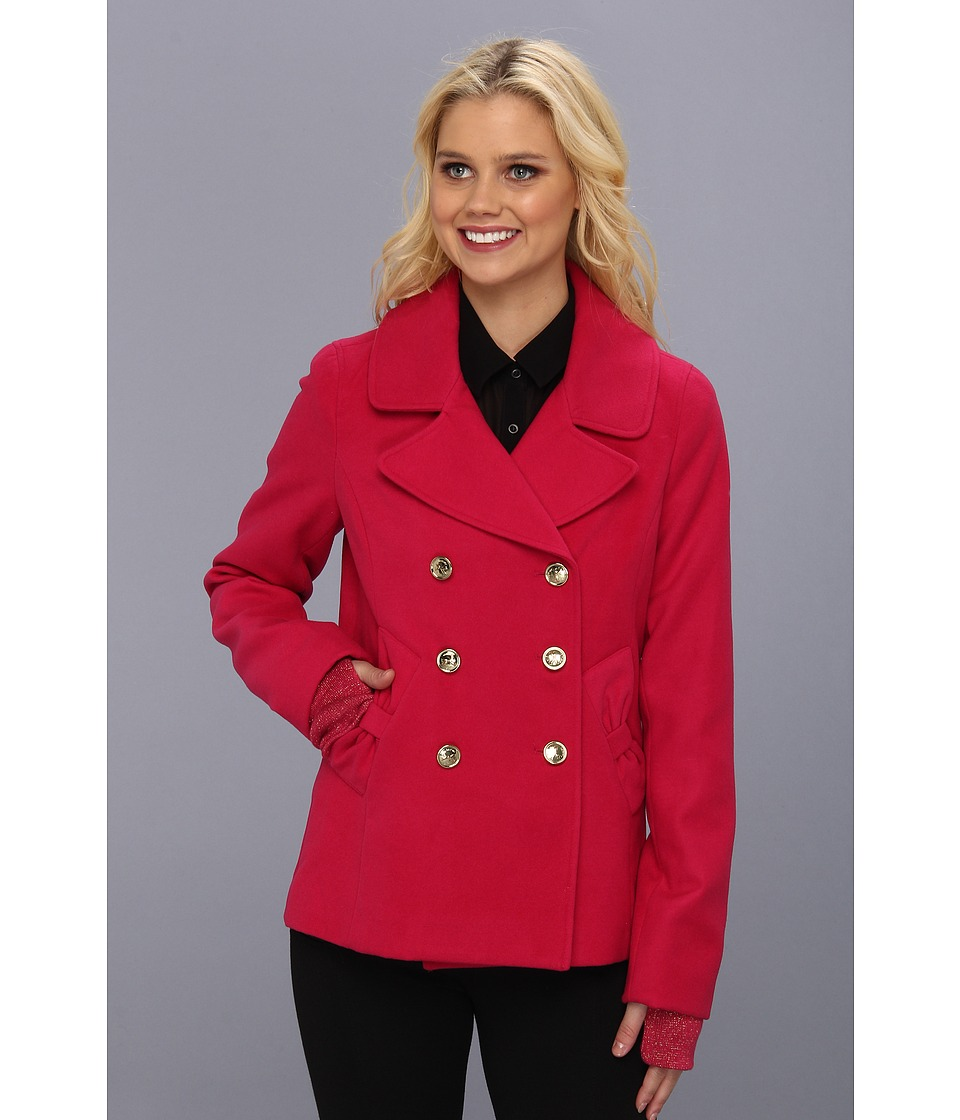 Tommy Hilfiger - Double Breasted Bow Peacoat (Fuchsia) Women's Coat