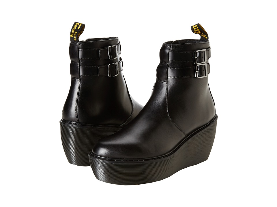 Dr. Martens - Caitlin 2-Strap Ankle Boot (Black Brando) Women's Boots