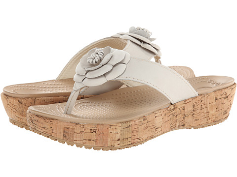 Crocs - A-Leigh Flip Flop Flower (Stucco/Gold) Women's Shoes