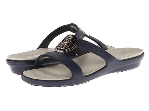 Crocs - Sanrah Circle Embellishment Sandal (Navy/Stucco) Women's Shoes