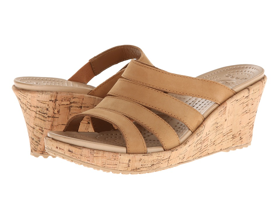 Crocs - A-Leigh Cork Wrap Wedge (Cocoa/Gold) Women's Shoes