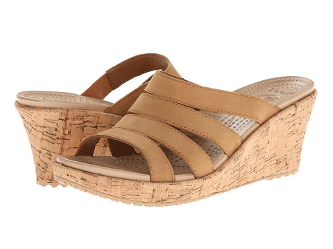Crocs - A-Leigh Cork Wrap Wedge (Cocoa/Gold) Women