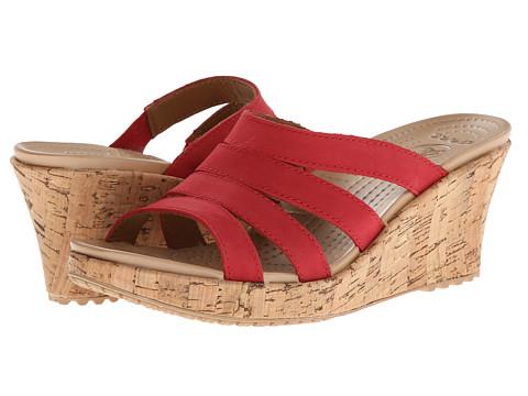 Crocs - A-Leigh Cork Wrap Wedge (Dark Red/Gold) Women's Shoes