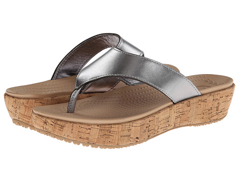 Crocs - A-Leigh Flip Flop Metallic Leather (Silver/Gold) Women's Shoes