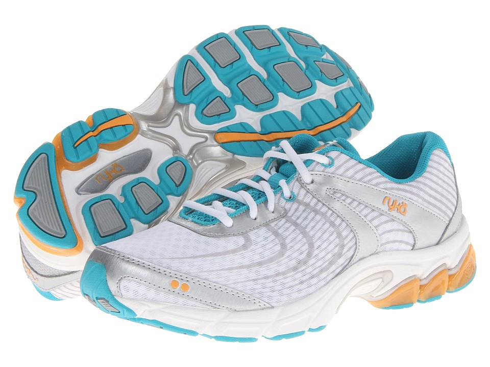Ryka - Motive (White/Chrome Silver/Disco Teal/Orange Ice) Women's Running Shoes