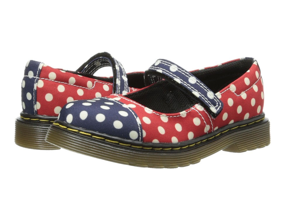 Dr. Martens Kid's Collection - Bairn Toe Cap Mary Jane (Toddler) (Navy+White/Red+White Dots Fine Canvas) Girls Shoes