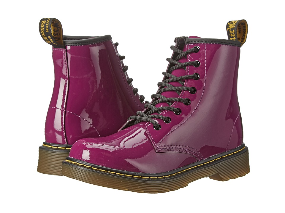 Dr. Martens Kid's Collection - Delaney Lace Boot (Little Kid/Big Kid) (Purple Patent Lamper) Kids Shoes