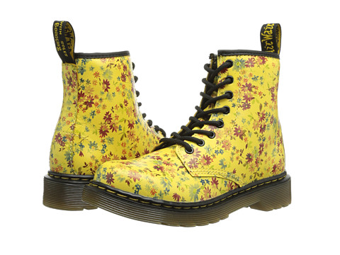 Dr. Martens Kid's Collection - Delaney Lace Boot (Little Kid/Big Kid) (Sun Yellow Little Flowers) Girls Shoes